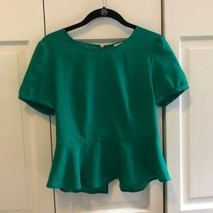 Pins and needles green peplum blouse size small